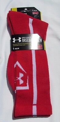 NWT Under Armour Men's Large (9-12.5) Pair of Red Baseball Crew Socks