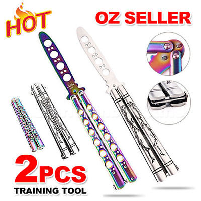 2x Rainbow Dragon Practice BALISONG METAL BUTTERFLY Sport Trainer Knife Tool