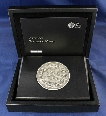 "2015 Royal Mint Silver 250g 80mm Pistrucci ""Waterloo"" Medal in Case & COA (C4/1)"