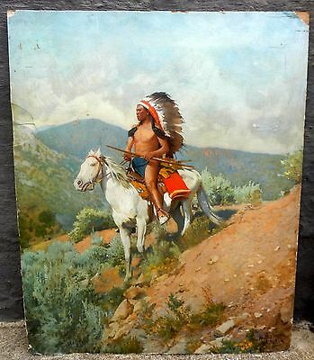 Antique Oil Painting Western Painting Of A Scout On His Horse Signed