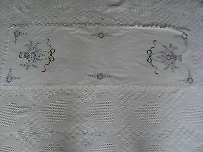 "Vintage Table Runner Hand Embroidered Flowers Dresser Scarf 15"" x 41.5"" Defects"