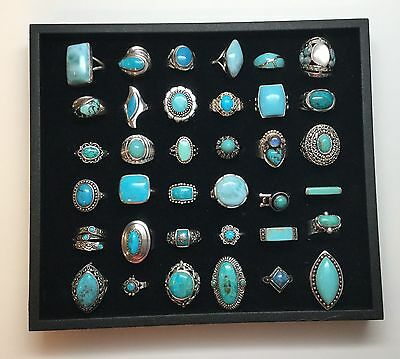 Lot Of 36 Sterling Silver Rings With Turquoise Colored Stones