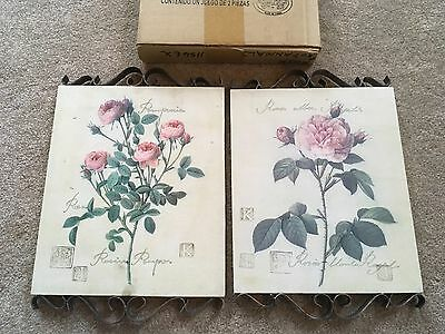 2 Home Interiors HOMCO Beautiful Rose Botanicals Pictures New in Box wall decor