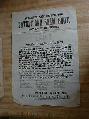 Paper Advertising Peter Keffer's Patent One Seam Boot 1859 Reading Pa. NICE!