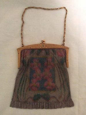 Whiting and Davis vintage mesh purse/evening bag-Multi Color Floral-BEAUTIFUL !!