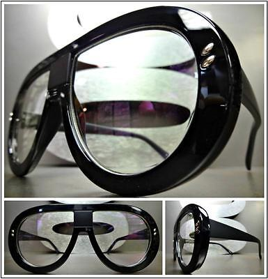 OVERSIZED CLASSIC VINTAGE RETRO Style Clear Lens EYE GLASSES Black Fashion Frame