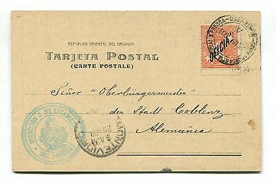 URUGUAY OFFICIAL REGISTERED very rare card to GERMANY PERFIN STAMP # 4326