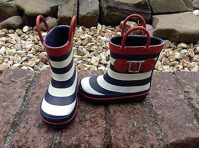 Blue And White And Red Stripe NEXT Wellies Size 5 infant
