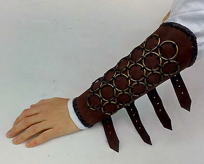 LARP Arm Grieves Armour Ring Mail Brown Leather REDUCED