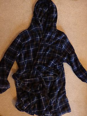 XL mens dressing gown/robe blue check fleecy hooded