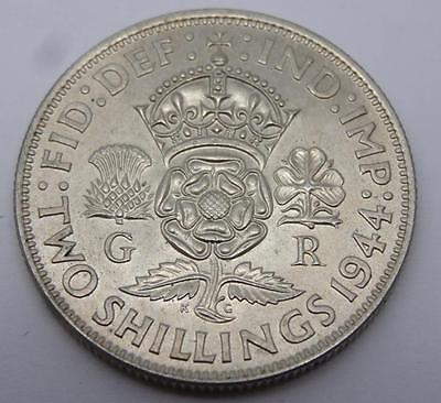 ***1944 .500 Silver Two Shillings George Vi Coin (330)***
