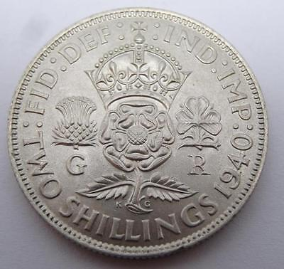 ***a/unc 1940 Silver Two Shillings George Vi Coin (331)***
