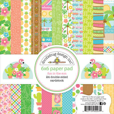 "Doodlebug Double-Sided Paper Pad 6""X6"" 24/Pkg-Fun In The Sun, 12 Designs/2 Each"