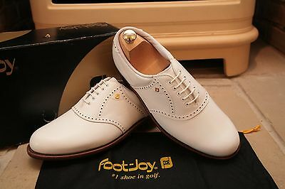 Rare Footjoy Classics Men's Handmade All White Leather Golf Shoes Size UK 8.5