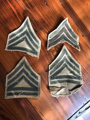WW2 era USMC Marine Corps Sargent enlisted rank patches Lot of 4