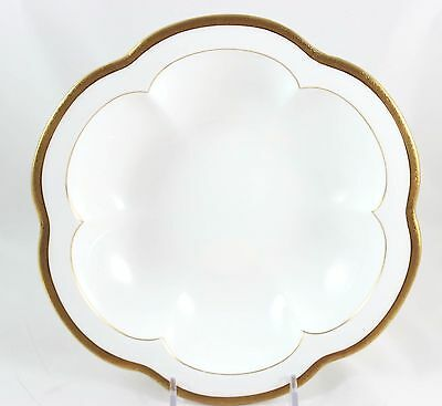 Antique 6 Well Seafood Oyster Bowl Minton Bone China H969 Raised Gold Encrusted