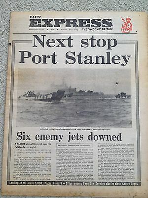 Daily Express Newspaper 24th May 1982 Falklands. Canberra Hospital ship.