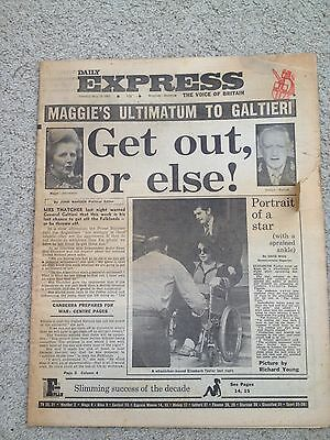 Daily Express Newspaper 18th May 1982 Falklands. Canberra.