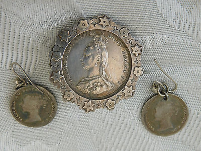Lovely Royalty Commemorative Victorian Silver Coin Jewellery Brooch + earrings