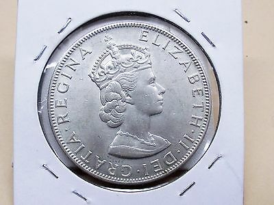 1964 1 Bermuda Crown Silver Coin Elizabeth II Lion Holding Shield Free Shipping