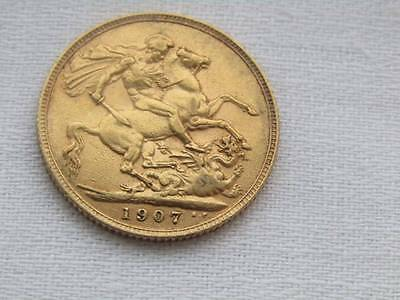 1907 King Edward V11 22 ct Gold Full Sovereign BP DS
