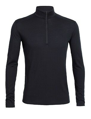 Icebreaker Men's Oasis Base Layer L/Sleeve Half-Zip Merino Shirt - Black