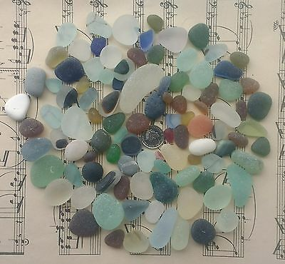 100 Jewellery Quality Mixed English Sea Glass Pieces 300g Rare Blue Multis Aqua