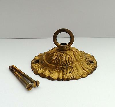 Old Vintage French Gilt Brass Rococo Art Deco Chandelier Ceiling Rose Hook Plate