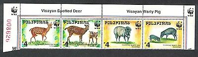 Philippines WWF Spotted Deer and Warty Pig Top Strip of 4v WWF Logo SG#2992/95
