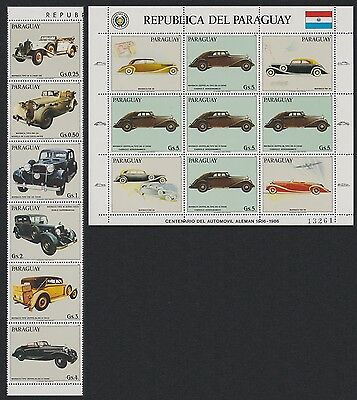 Paraguay Maybach Automobiles strip of 6v+Sheetlet SC#2175-2176
