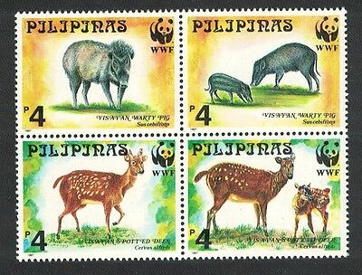Philippines WWF Spotted Deer and Warty Pig 4v in block 2*2 SG#2992/95 SC#2476-79