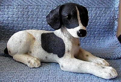 Gorgeous Alabaster/Resin B&W POINTER PUP - NEW  Made in Italy -Perfect Condition