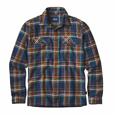 Patagonia Men's Long Sleeved Fjord Flannel Shirt - Blue Ox: Navy Blue