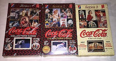 3 Factory Sealed Coca Cola Trading Card Boxes Series 1,2 and 3