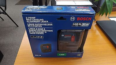 FACTORY SEALED BOSCH GPL 3 S 100ft/ 30m 3-Point Self-Leveling Alignment Laser!