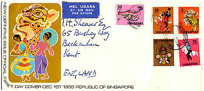 Singapore Definitives First Day Cover 1968