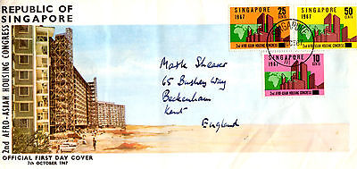 SINGAPORE First Day Cover AFRO ASIAN HOUSING CONGRESS 1967