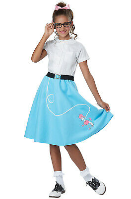 Brand New 50's Pink Ladies Grease Blue Poodle Skirt Child Costume