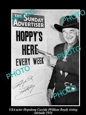 Old Large Historical Photo Hopalong Cassidy 1954 Visit To Adelaide, South Aust