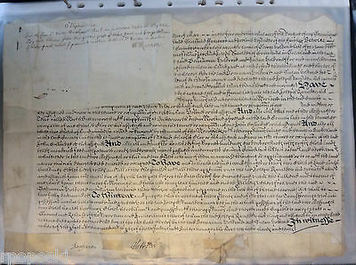 1683 Early Vellum Latin British Document On One Page With A Seal