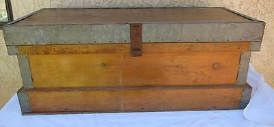 Vintage Wood w/ Metal Accents Trunk Chest Hand Made Flattop. Foot Locker l