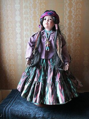 """~ RAVEN ~ 24"""" Native American Indian Porcelain DOLL by Donna RuBert + Stand"""