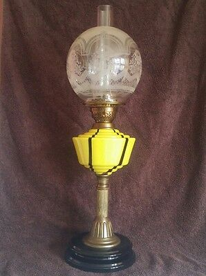 Stunning Antique Yellow Glass Oil Lamp with Duplex Etched Glass Shade Globe