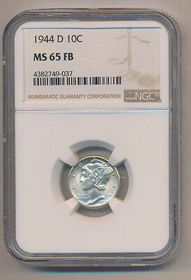1944-D Mercury Silver Dime **ngc Certified Ms65Fb-Stunning Coin** Free Shipping!