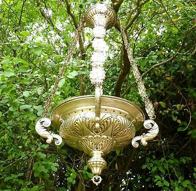 Antique French Victorian Brass Rococo Silver Plate Ceiling Light Chandelier 1890