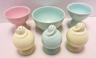 Vintage Lu-Ray Pastels 36s Bowl, 3 Salts, 2 Egg Cups Taylor Smith Taylor