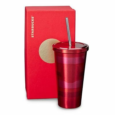 STARBUCKS Stainless Steel Cold Cup Red and Pink Stripes SS Straw NEW