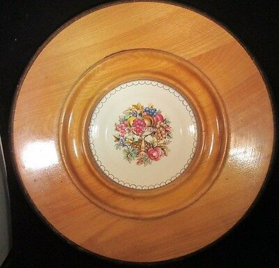 """Triumph American Limoges Imperial Victoria 6 1/4"""" salad Plate in 14""""  wood tray"""