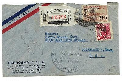 1946 Uruguay To USA Cover - Registered Airmail (II33)