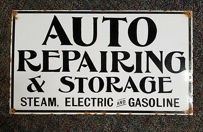 Auto repairing and storage porcelain sign.